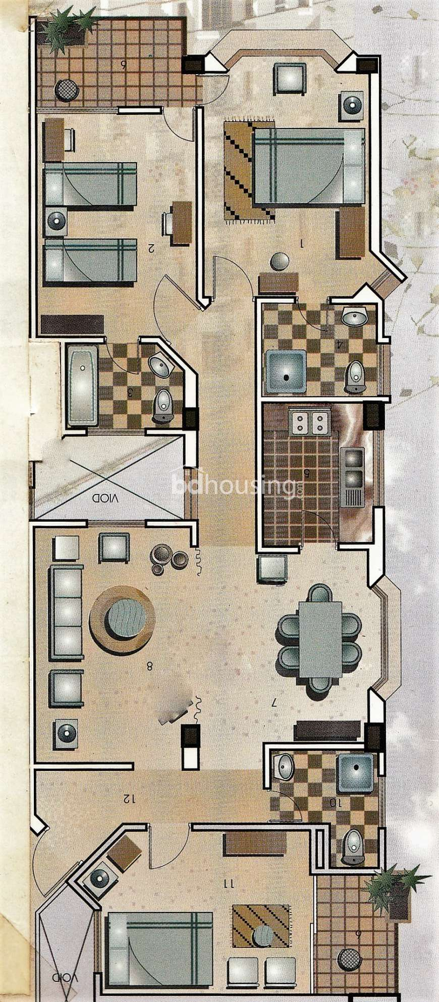 1500 Sqft 3 Beds Ready Apartment Flats For Sale At Kalabagan